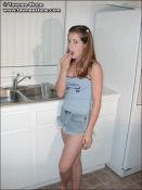 Sexy cutie gets naked in the kitchen in a sweet strip tease. from Tawnee Stone